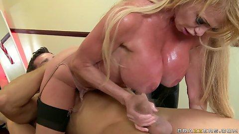 Sweaty milf sucks deepthroat and sits on dick