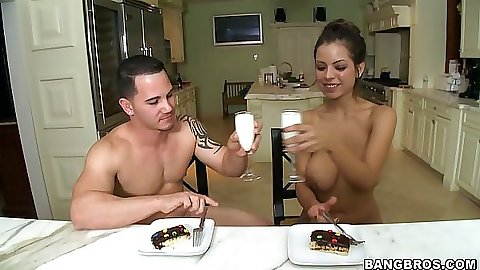 Hot babe having a glass of milk with real semen