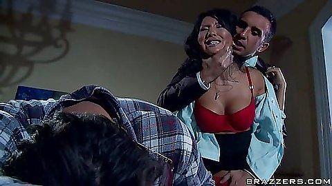 Hot asian with big tits blowjob
