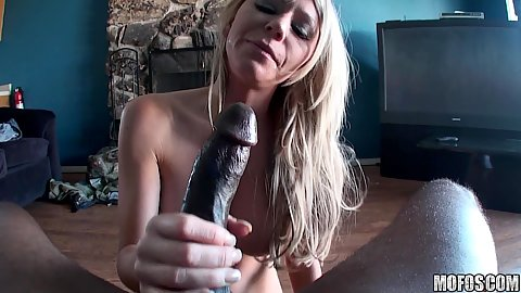 Blonde milf is trying to manage large black dick