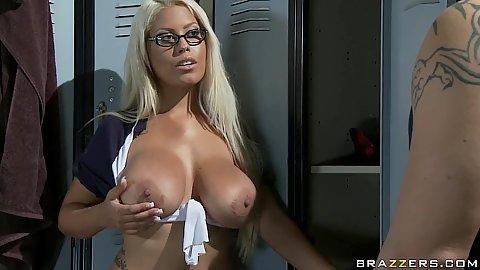 Bridgette busty school girl in change room