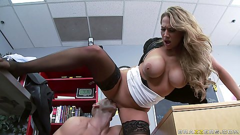 Big tits teacher Alanah Rae sits on cock on desk