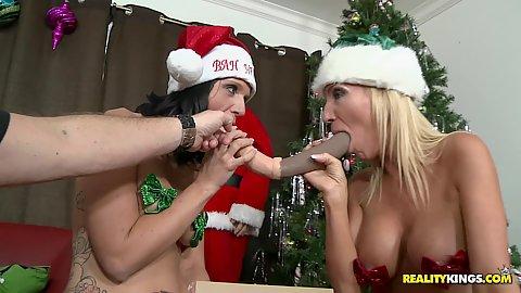Horny milfs tape down their big tits