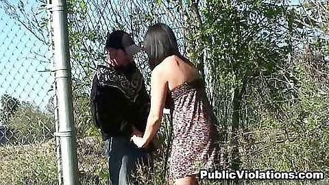 Hot babe sucking dick outdoors public sex