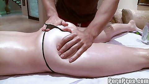 Alyssa branch getting oil all over during massage