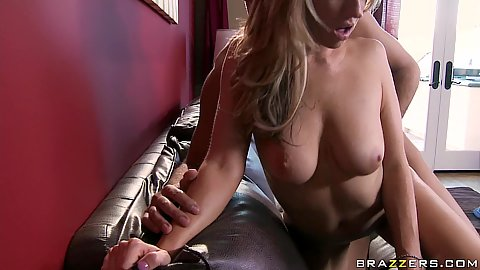Carolyn sits on cock and doggy pumped