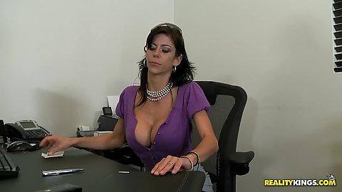 Big tits boss Alexys hired a new salesman
