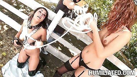 Cumshot face slut fucked outdoors