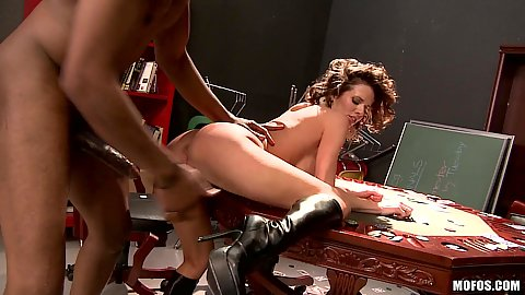 Doggy style fucking horny milf on poker table