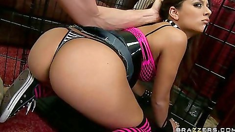 Doggy style fucking Jynx and fingering her ass