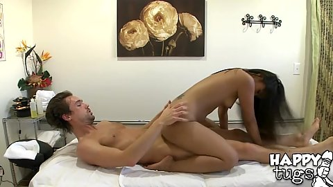 Asian babe reverse cowgirl and sucking dick during massage