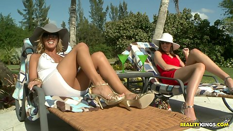 Outdoors milfs having a tan