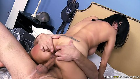 Cowgirl and titty fuck for Shay and a facial cumshot