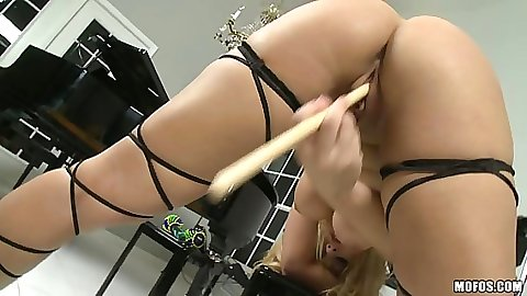 Shaved pussy receiving various home objects insertion