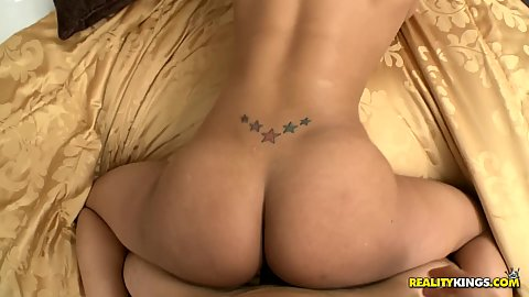 Big round ass doggy style on bed