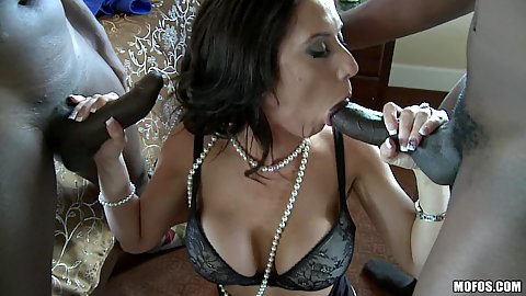 Some dual big black cock sucking from a hot milf