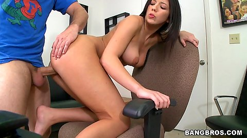 Fucking on the office chair doggy style