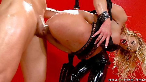 Probing Shyla Stylez ass and anal fuck in a sex swing
