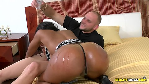 Hazel works guys cock and sits on it