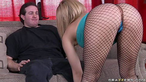 Blonde babes ass in fishnets what a joy