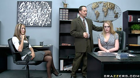 Big tits at work with Kagney at the office