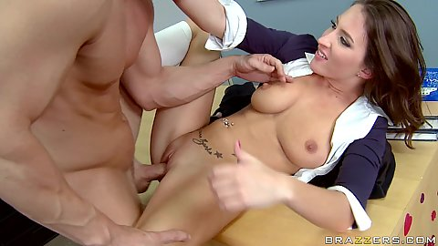 Lizz fucked and facial cumshot on teachers table