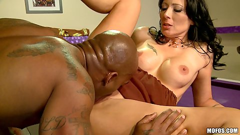 Milf spreads pussy for big black cock