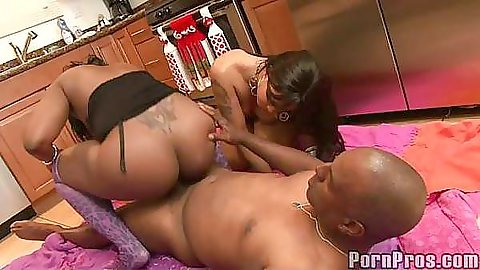 Blowjob and then sitting on cock on the kitchen floor