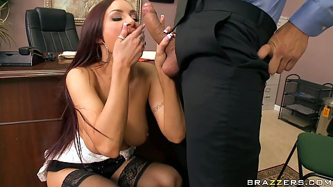 Big tits Amy going down for a titty fucking and suck