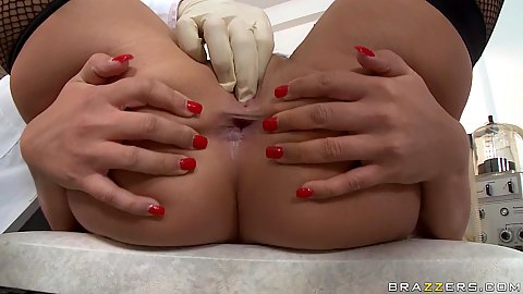 Doctor examining ass and pussy