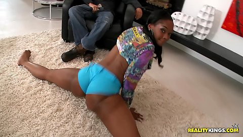 Gorgeous black booty shaking and crawling