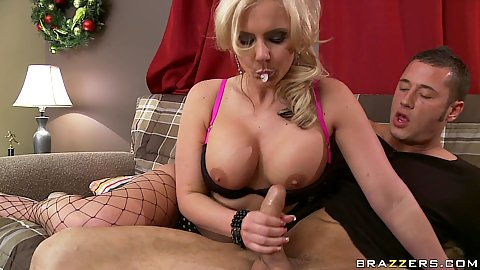 Phoenix Marie sucks dick and titty fucks it