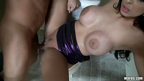 Slut fucked on a public toilet bowl