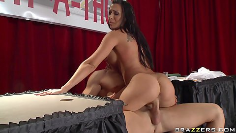 Rachel sits on cock and spreads legs