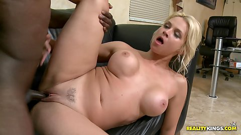 Interracial big black cock and blonde milf skank