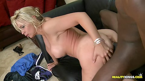 Milf doggy fucked by big black cock and titty squeeze