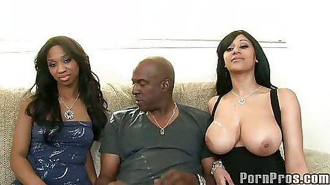 Big tits babes in 3some with large black dick