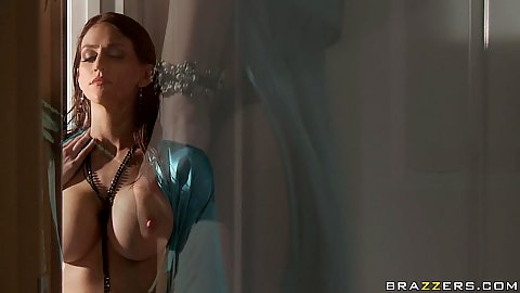 Hot big tits babe Eve Laurence gets out of shower