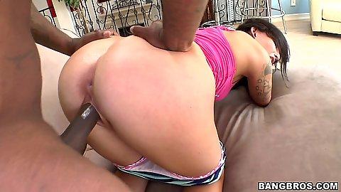 Big black cock getting into Aria Aspen mouth suck