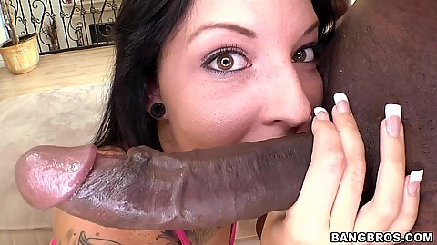Sucking off big black dick during cowgirl