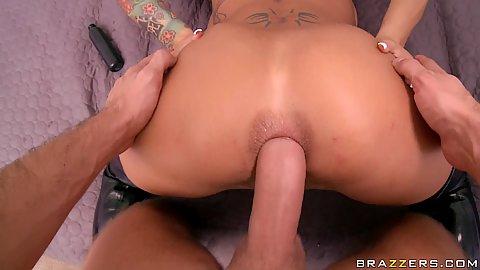 Doggy style anal fucking penetration close up