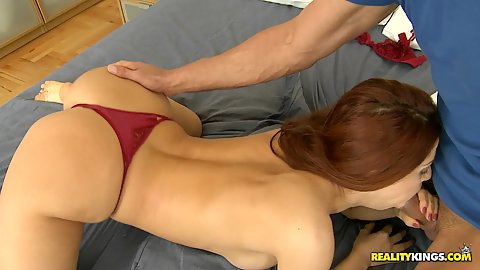 Blowjob and cowgirl fuckign with pulled aside panties