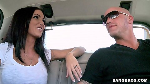 Jessica Jaymes sits in the back seat
