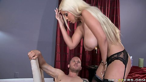 Reverse cowgirl big tits Bridgette B near table fuck