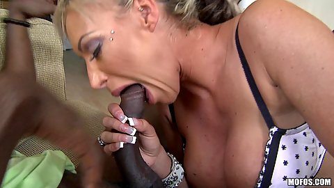 Hoge black cock for busty milf to suck and touch