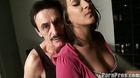 Roxy love sucks off penis from older guy
