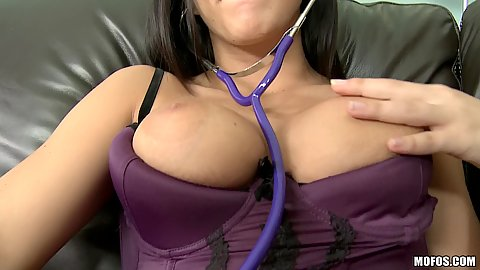 Slut goes to insert medical tools into pussy