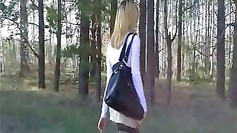 Teen gf taking off panties outdoors in forest