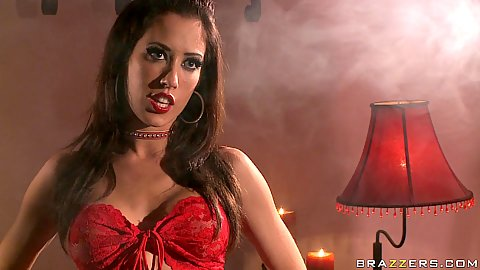 Pornstars fuck with a babe in red