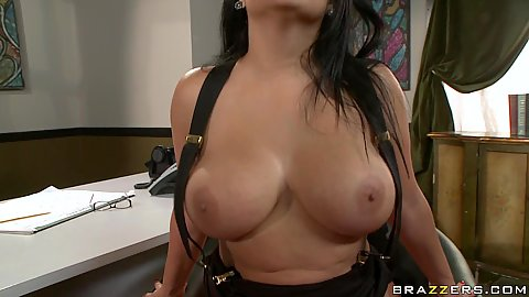 Sideways fucking big tits brunette slut in office